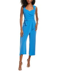 Adrianna Papell Draped Knit Crepe Jumpsuit - Blue