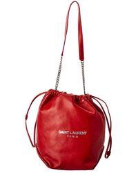 Saint Laurent Teddy Leather Bucket Bag - Red