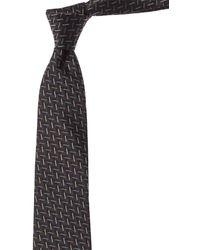 Lanvin Grey Lines Silk Tie