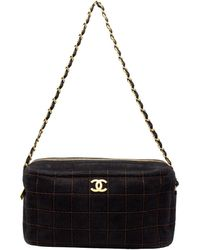 Chanel Black Suede Cc Chocolate Bar Bag