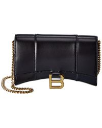 Balenciaga Hourglass Leather Wallet On Chain - Black