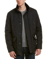 Cole Haan Quilted Jacket With Corduroy Collar - Black