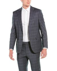 Kenneth Cole 2pc Wool-blend Suit With Flat Pant - Grey