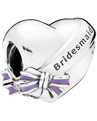PANDORA Silver & Purple Enamel Best Bridesmaids Charm