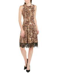 Donna Ricco Snakeskin-print Scallop Crochet-hem Dress - Brown