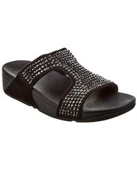 Fitflop - Glitzie Suede Slide Sandal - Lyst