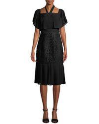 Temperley London Berry Lace Cocktail Flounce Dress - Black