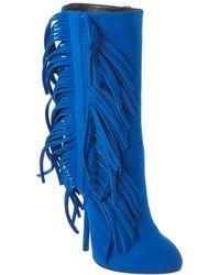 Giuseppe Zanotti Fringe Suede Boot - Blue