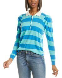 Autumn Cashmere Puff Sleeve Cashmere Polo Shirt - Blue