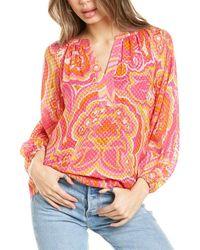 Trina Turk Peace Silk-blend Top - Pink
