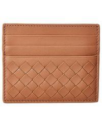 Bottega Veneta Intrecciato Leather Card Case - Pink