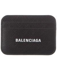 Balenciaga Logo Leather Card Holder - Black