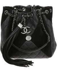 Chanel | Black Goatskin Suede Calfskin Cc Bundle Drawstring Bag | Lyst