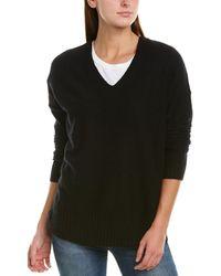 White + Warren Ribbed Cashmere V-neck Sweater - Black
