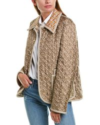 Burberry Monogram Print Quilted Silk Jacket - Brown