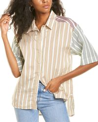 Sandro Leopold Tricolor Striped Shirt - White