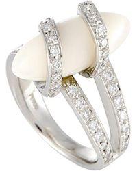 Heritage Platinum 0.70 Ct. Tw. Diamond & Coral Ring - Metallic