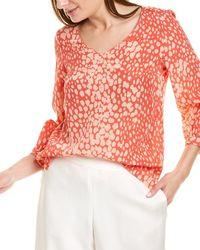 Lafayette 148 New York Speckle Silk Shirt - Pink