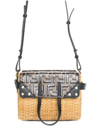 Fendi Brown Glossed Rattan & Leather Flip Mini Tote, Never Carried