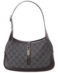 Gucci - Black Gg Supreme Canvas Jackie Shoulder Bag - Lyst