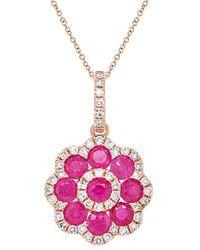 Diana M. Jewels . Fine Jewelry 14k Rose Gold 1.01 Ct. Tw. Diamond & Ruby Necklace - Pink