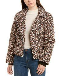 Diane von Furstenberg Paulina Leopard Moto Puffer Jacket - Black