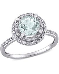 Rina Limor 10k 1.24 Ct. Tw. Diamond & Aquamarine Engagement Ring - Metallic