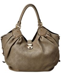 Louis Vuitton Taupe Mahina Leather Extra Large Hobo - Brown