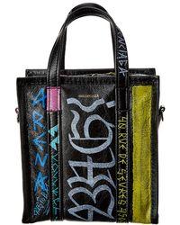 Balenciaga Bazar Xs Graffiti Leather Shopper Tote - Multicolor