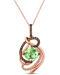 Le Vian ? 14k Rose Gold 3.73 Ct. Tw. Diamond & Green Quartz Pendant Necklace