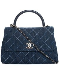 Chanel Blue Quilted Denim Trendy Cc Satchel, Never Carried