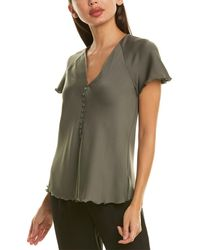 Theory Button Front Silk-blend Top - Green