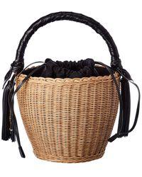 Saint Laurent Panier Wicker & Leather Bucket Bag - Multicolor