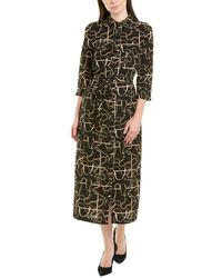 Donna Morgan Status Print 3/4 Sleeve Lightweight Stretch Crepe Collared Shirtdress - Black