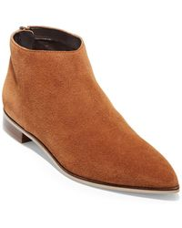 Cole Haan Havana Point-toe Suede Booties - Brown