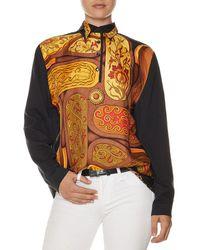 Hermès Hermès Black & Gold Silk-blend Scarf Print Blouse (size L)
