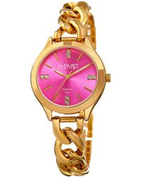 August Steiner Pink Dial Gold Tone Watch