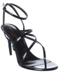 Saint Laurent Paris 75 Patent Sandal - Black