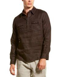 Onia Miller Linen Popover Shirt - Black