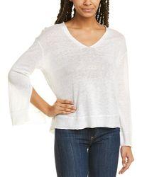 INHABIT Linen V-neck Sweater - White