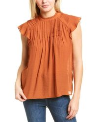 Nanette Lepore Nanette By Nanette Lepore Cap Sleeve Ruffle Top - Orange