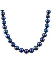 Masako Pearls Splendid Pearls 14k 10-11mm Cultured Freshwater Pearl Necklace - Blue