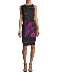 Tracy Reese Floral Print Sheath Silk Dress - Black