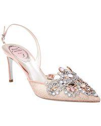 Rene Caovilla Veneziana 75 Slingback Lace & Leather Sandal - Pink