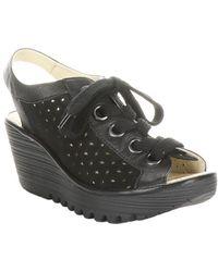 Fly London Yorl Leather Wedge Sandal - Black