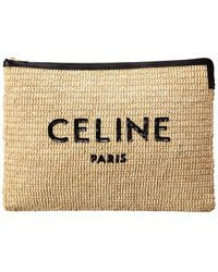 Celine Large Straw & Leather Pouch - Natural
