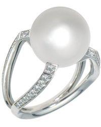 Mikimoto 18k 0.46 Ct. Tw. Diamond & South Sea Pearl Ring - Metallic