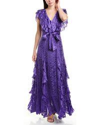 Alice + Olivia Tessa Godet Silk-blend Maxi Dress - Purple