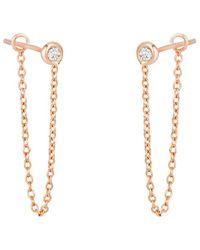 Ariana Rabbani 14k Rose Gold 0.10 Ct. Tw. Diamond Chain Drop Earrings - Metallic