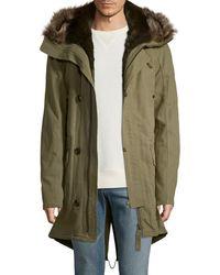 Yves Salomon Attached Hood Coat - Green